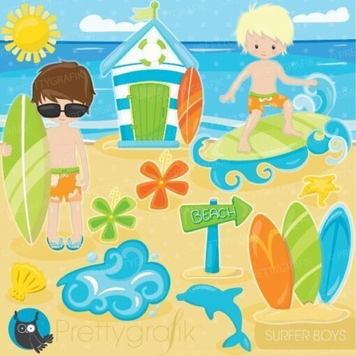 Surfer boys clipart