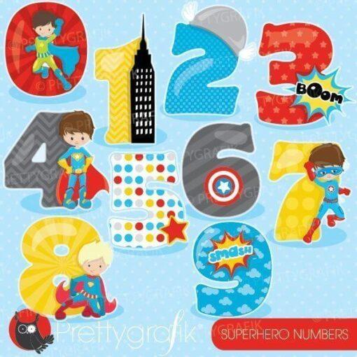 Superhero numbers clipart
