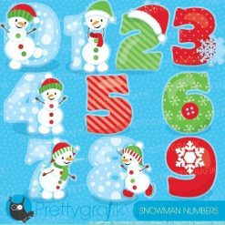 Snowman numbers clipart