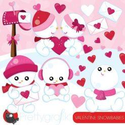 Valentine snowmen clipart