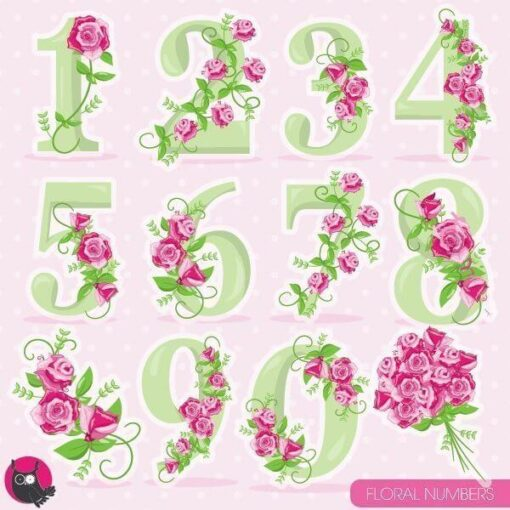 Floral numbers clipart