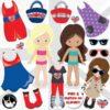 London girls clipart
