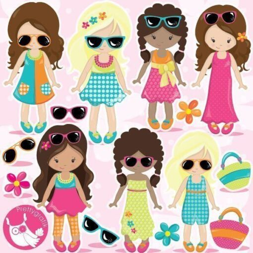 Summer girls clipart