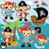 Pirate monkey clipart