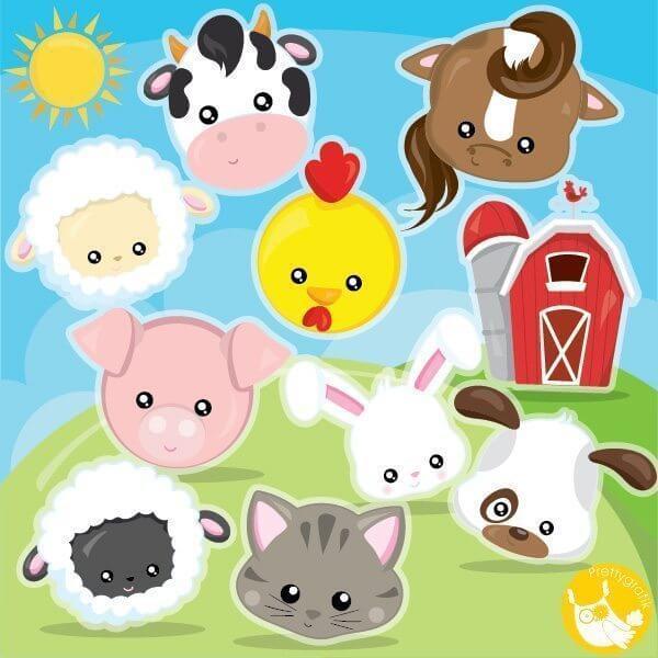 Farm animal faces clipart - Prettygrafik Store