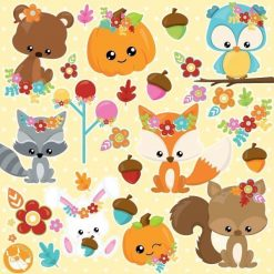 Fall animals clipart