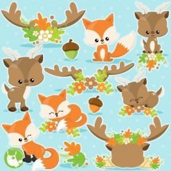 Fox and deer clipart