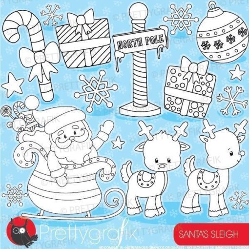 Santa's sleigh stamps