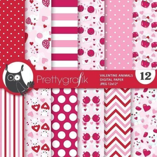 Valentine animal papers