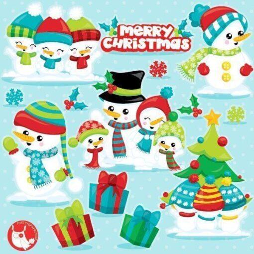 Snowman family clipart