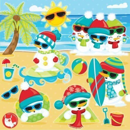 Snowman vacation clipart