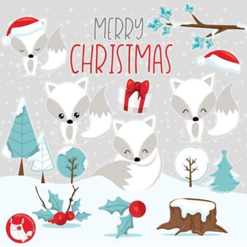Christmas foxes clipart
