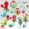 Christmas birds clipart