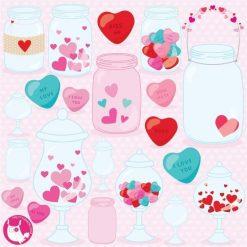 Valentine jars clipart