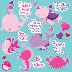 Valentine whale clipart