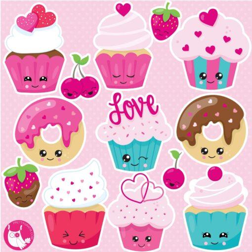 Kawaii cupcake clipart