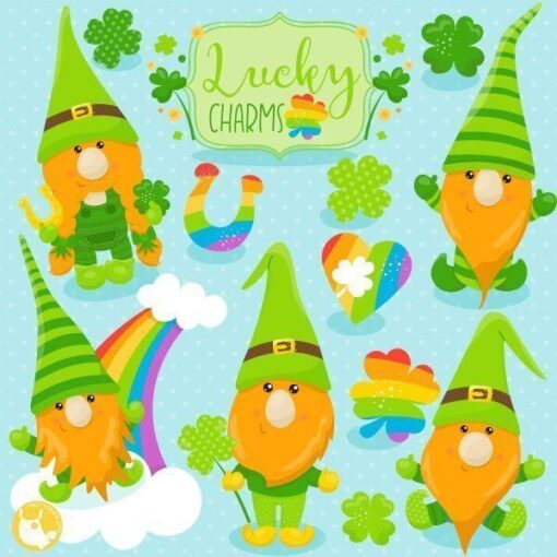 St-Patrick's gnomes clipart