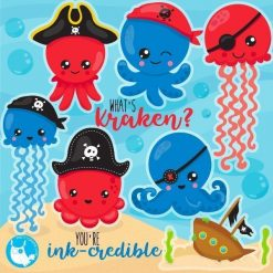 Octopus pirate clipart
