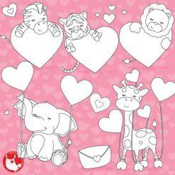 Valentine animals stamps