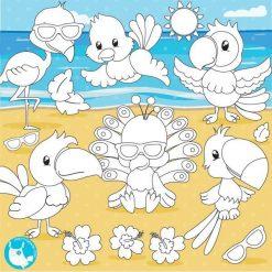 Tropical bird stamps