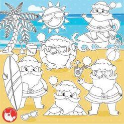 Santa vacation stamps