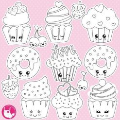 Valentine cupcakes stamps