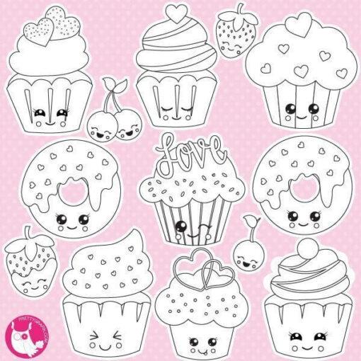 Valentine cupcakes stamps