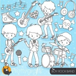 Boy rock band stamps