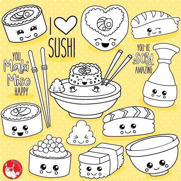 Kawaii Sushi Stamps Prettygrafik Store