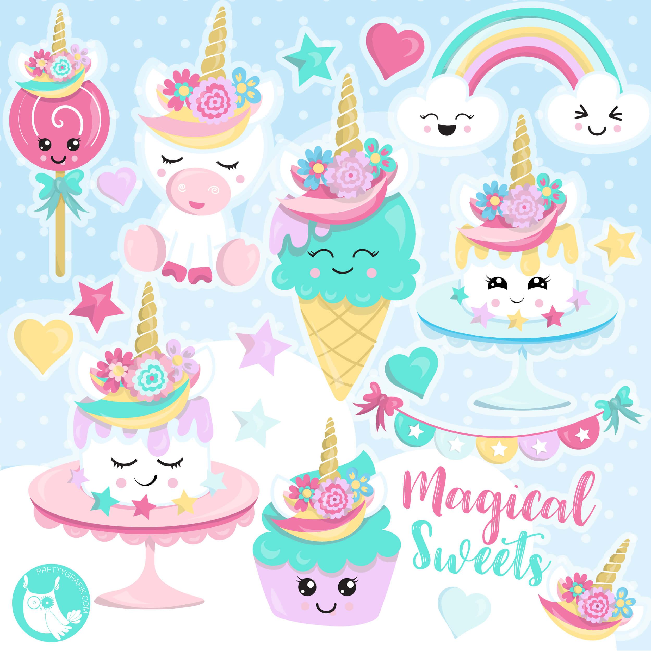 Unicorn Sweets clipart - Prettygrafik Store (2499 x 2499 Pixel)
