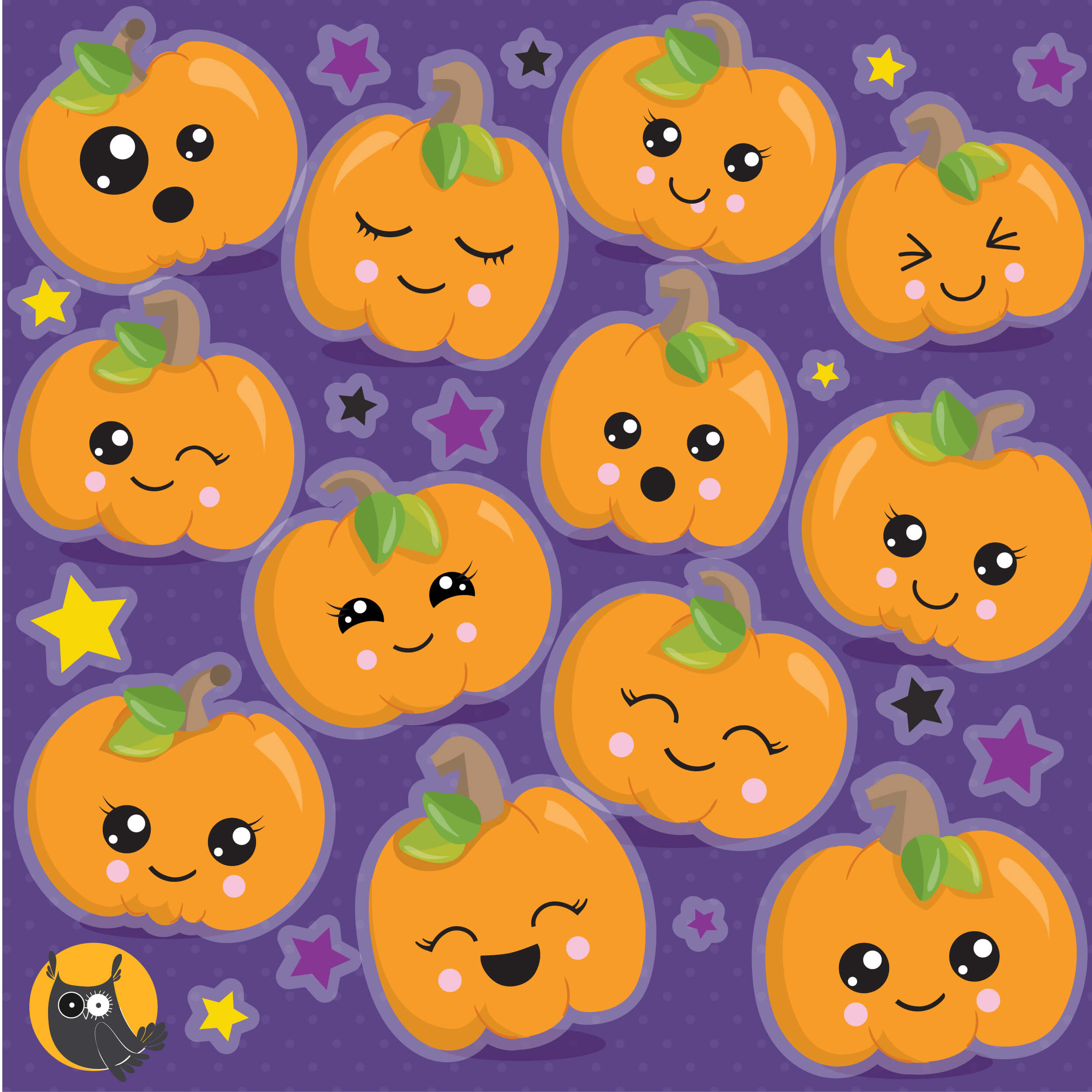 Halloween Cute Pumpkins clipart - Prettygrafik Store