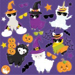 Halloween Llama clipart