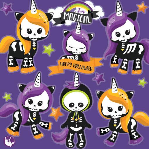 unicorn skeleton clipart