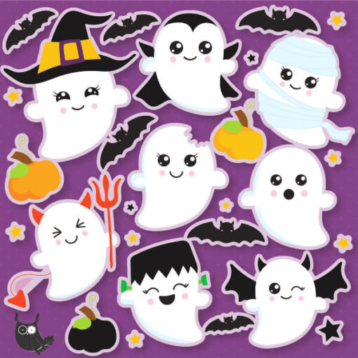 Ghost Halloween party clipart