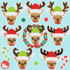 Christmas Reindeer Heads Clipart