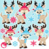 Christmas Kawaii Reindeers Clipart