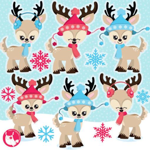 Christmas Kawaii Reindeers Clipart