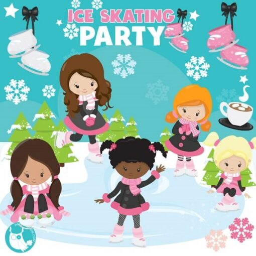 Ice Skating Party clipart graphic