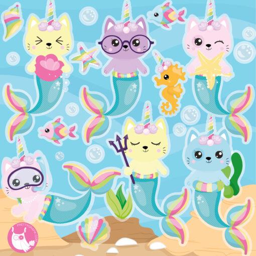mermaid unicorn cat clipart
