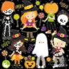 Halloween kids digital clipart