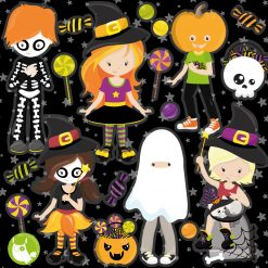 Halloween kids digital clipart