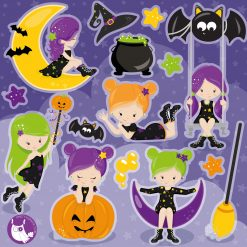 Halloween girls digital clipart