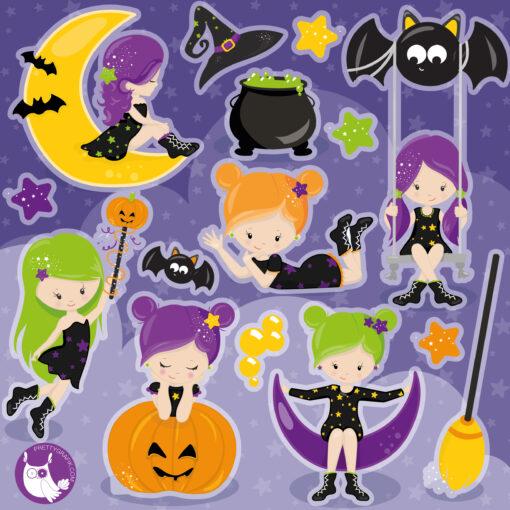 Halloween girls digital clipart